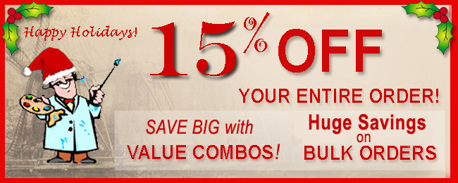 Holiday Sale and receive 15% off your entire order. Buy in bulk and save big. Really big. Perfect for classes and painting groups.